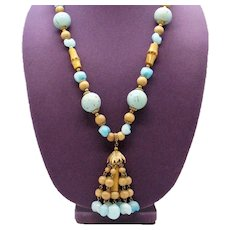 Pretty Vintage Turquoise Glass Bamboo Wood Tassel Necklace FREE SHIPPING
