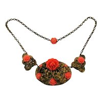 Vintage Antique Brass Orange Celluloid Roses Floral Overlay Necklace FREE SHIPPING