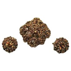 Vintage Citrine Rhinestone Cluster Vintage Brooch Clip Earrings Set FREE SHIPPING