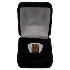 Beautiful Glowing Men's Tiger's Eye Sterling Silver Vintage Art Deco Ring FREE SHIPPING