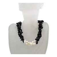 Gorgeous Vintage Black Onyx Baroque Pearl Three Strand Necklace 92 Grams! FREE SHIPPING