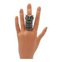 Unusual Vintage Full Finger Ring Figural Owl Jointed Rhinestones FREE SHIPPING