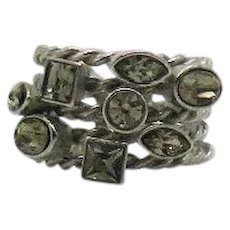 Fabulous Vintage Wide Glass Stone Five Row Cable Ring FREE SHIPPING