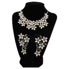 Fantastic Early White Thermoset Plastic Flower Rhinestone Choker Necklace Ear Crawler Earrings Set FREE SHIPPING