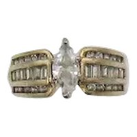 Gorgeous Vintage Signed 925 R Three Row Band Ring Channel Baguette's Rounds 2 Carat Center Marquise Cubic Zirconia Size 8 FREE SHIPPING