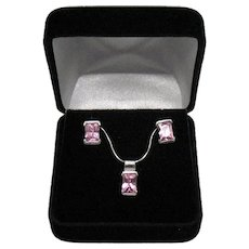 Stunning 925 Sterling Silver Pink Emerald Cut Cubic Zirconia Vintage Necklace Pierced Earrings Set FREE SHIPPING