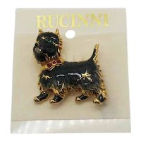 Signed CT Rucinni Vintage Figural Scotty Dog Brooch New in Package Enameled FREE SHIPPING