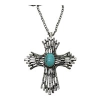 BOLD Vintage Silver Cross Pendant Faux Glass Turquoise Necklace FREE SHIPPING