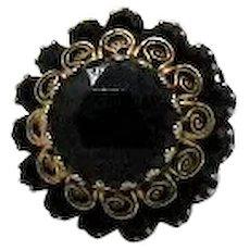 Amazing Vintage Black Glass Rhinestone Fleur de lis Filigree Costume Jewelry Ring FREE SHIPPING