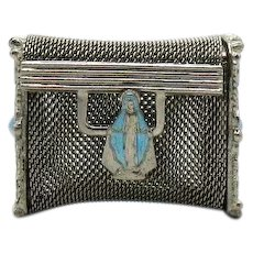 Divine Mid Century Silver Mesh Rosary Casket Enameled Blessed Virgin Mary Clasp FREE SHIPPING