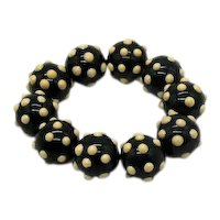 Coolest Vintage Lucite Applied Polka Dotted Stretch Bracelet 42 Grams! FREE SHIPPING
