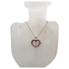 Beautiful 18K Rose Gold Plated Heart Rhinestone Signed Strada Vintage Pendant Watch Necklace FREE SHIPPING