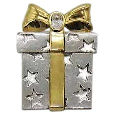 Vintage Mixed Metals Christmas Present Costume Jewelry Rhinestone Brooch
