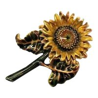 Signed MFA Museum of Fine Arts Vintage Figural Sunflower Brooch FREE SHIPPING