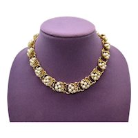 Early Sighed Coro Vintage Faux Pearl Rhinestone Golden Necklace FREE SHIPPING