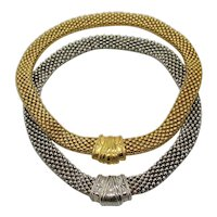 Set of Two Vintage Etruscan Mesh Magnetic Necklaces Silver Gold Plated FREE SHIPPING