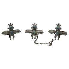 Unusual Vintage Thunderbird Tie Tac Cuff Links Set Fred Harvey Era FREE SHIPPING