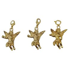 Three Vintage Golden Figural Angel Charms Costume Jewelry Ready to Hang for Charm Bracelet FREE SHIPPING