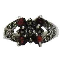 Sterling Silver Signed CW 925 Garnet Gemstone Marcasite  Vintage Ring FREE SHIPPING