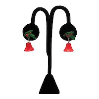 Vintage 1930s Celluloid Dangle Red Bell Christmas Screw Back Earrings FREE SHIPPING