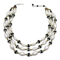 Unique Early Vintage Plastic Floral Black White Beaded Three Strand Necklace FREE SHIPPING