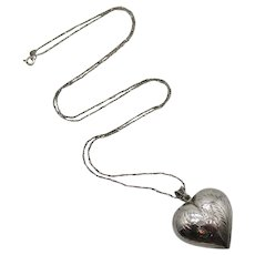 Stunning Sterling Silver 925 Signed ND Italy Vintage Puff Heart Pendant 30 Inch Long Chain Necklace FREE SHIPPING