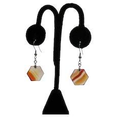 Gorgeous Vintage Hexagon Carnelian Gemstone Stainless Steel Wire Pierced Earrings Unworn FREE SHIPPING