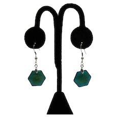Gorgeous Vintage Hexagon Blue Agate Stainless Steel Pierced Earrings Unworn FREE SHIPPING