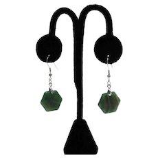 Gorgeous Vintage Hexagon Green Agate Stainless Steel Pierced Earrings Unworn FREE SHIPPING