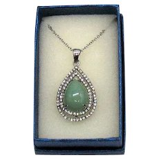 Gorgeous Vintage Jade Stainless Steel CZ Halo Pendant Necklace Unworn Original Box FREE SHIPPING