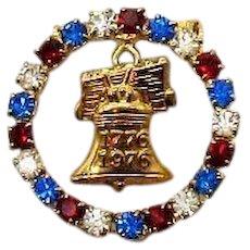 Patriotic Bi-Centennial Vintage 1996 Rhinestone Brooch Red White Blue Rhinestones