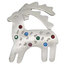 Hard to Find Signed JJ Vintage Figural Christmas Reindeer Rhinestone Brooch