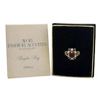 BOOK Signed Avon Roseglow Vintage 1973 Faux Ruby Pearl Ring Unworn Original Box Slip Cover Ring Size 5 FREE SHIPPING