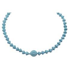 Gorgeous Czechoslovakia Vintage Turquoise Milk Glass Beaded Necklace FREE SHIPPING