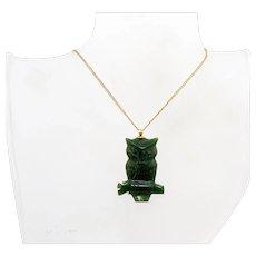 Vintage Signed 12K Gold Filled ELKA Carved Jade Owl Pendant Necklace FREE SHIPPING