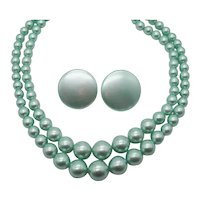 Fun Vintage 1950s Turquoise Plastic Beaded Necklace Clip Earrings Set Unworn! FREE SHIPPING