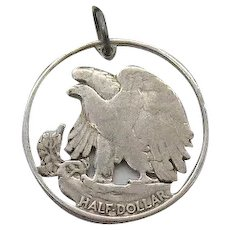 Vintage 1940s Silver Charm Cut Out from Real Half Dollar United States Coin