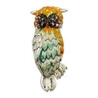 Large Vintage Figural Enameled Rhinestone Owl Brooch FREE SHIPPING