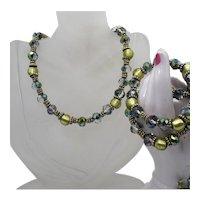 Gorgeous Vintage Gold Foil Encased Glass Faceted Beaded Necklace Bracelet Set FREE SHIPPING