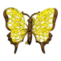 Fabulous Vintage Metal Enameled Bright Yellow Mid Century Figural Butterfly Brooch FREE SHIPPING