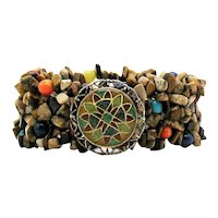 Signed CP Carolyn Pollack Naturalistic Mosaic Inlay 925 Vintage Gemstone Stretch Bracelet 55.2 Grams! FREE SHIPPING