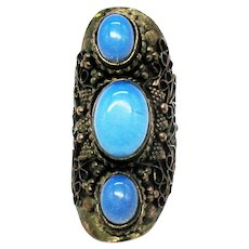 Very Unique Vintage Saddle Knuckle Copper Ring Blue Glass Moonstones FREE SHIPPING