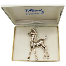 Rare Signed Marvel Sterling Silver Figural Vintage Modernist Rhinestone Pony Brooch Original Box 2 ¾ Inches Long  FREE SHIPPING