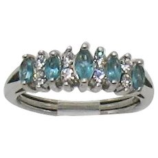 Signed Avon Vintage Simulated Aqua Marine Navette Clear Crystal Ring Size 6 ~ 6 ½