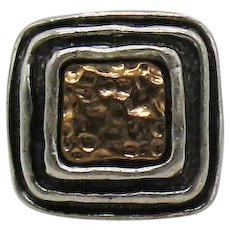 BOLD Etruscan Vintage Signed Chico's Mixed Metals Cuff Ring