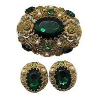 Stunning Emerald Green Rhinestone Signed W Germany Filigree Brass Brooch Clip Earrings Set FREE SHIPPING