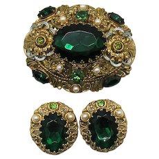Stunning Emerald Green Rhinestone Signed W Germany Filigree Brass Brooch Clip Earrings Set FREE SHIPPING