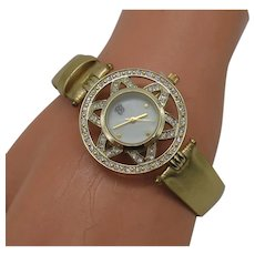 Signed Elizabeth Taylor ET Vintage Golden Rhinestone Wristwatch FREE SHIPPING