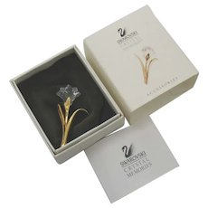 Beautiful Signed Swarovski Swan Vintage Crystal Memories Tulip Brooch Original Paperwork Box Slipcover FREE SHIPPING