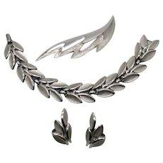 Signed Crown Trifari Silver Naturalist Modernist Leaf Bracelet Brooch Earrings Set FREE SHIPPING